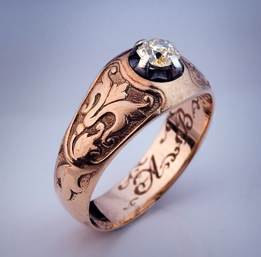 Antique Diamond Solitaire Rose Gold Men S Ring At 1stdibs