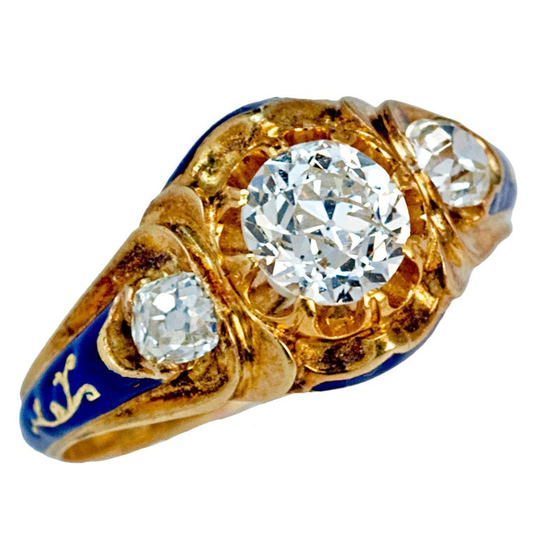 antique russian enamel gold ring 1851 at 1stdibs