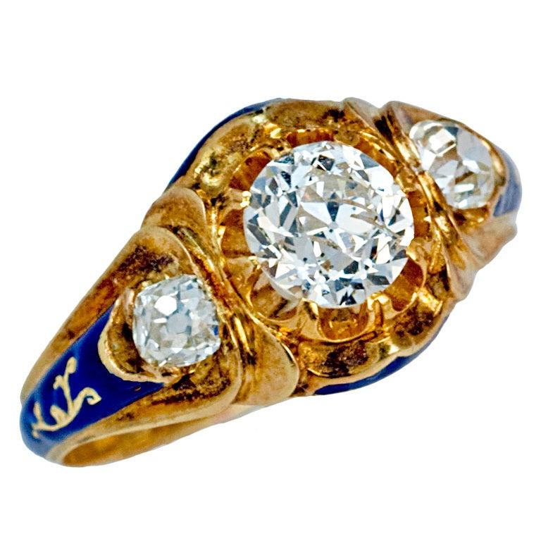 Antique Russian Diamond Enamel Gold Ring 1851 At 1stdibs