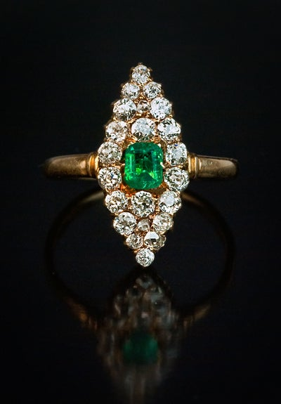 Antique Emerald Diamond Marquise Shaped Ring 2