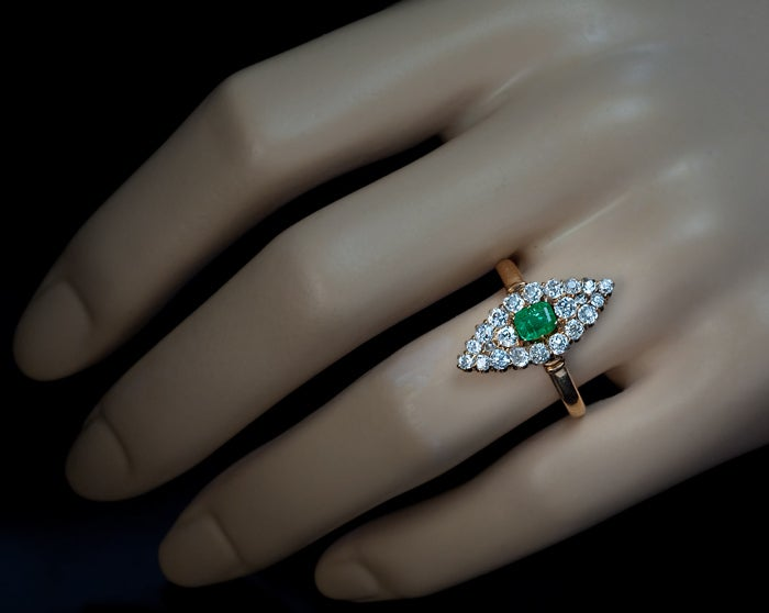 Antique Emerald Diamond Marquise Shaped Ring 3
