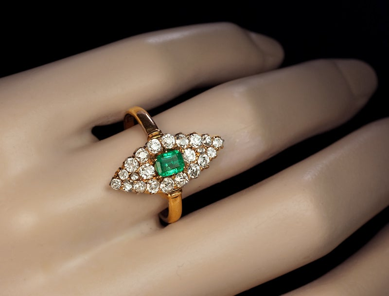 Antique Emerald Diamond Marquise Shaped Ring 4