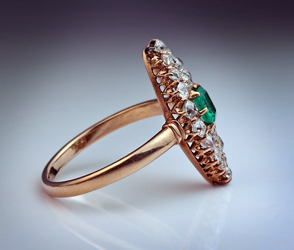 Antique Emerald Diamond Marquise Shaped Ring 5