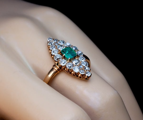 Antique Emerald Diamond Marquise Shaped Ring 6