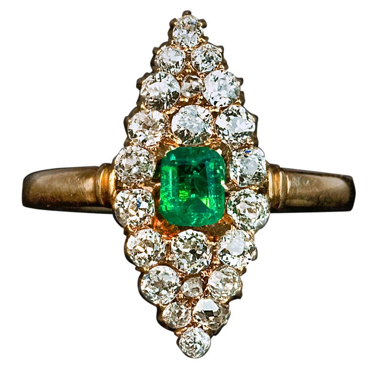 Antique Emerald Diamond Marquise Shaped Ring 1