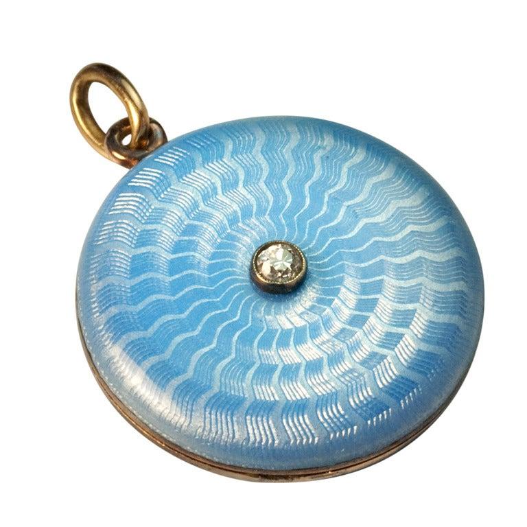 Antique Faberge Guilloche Enamel Locket Pendant 1