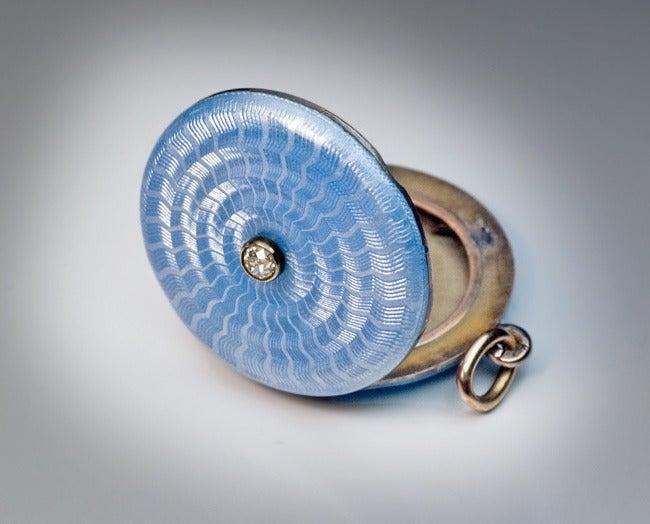Antique Faberge Guilloche Enamel Locket Pendant 3