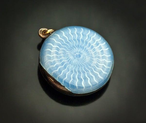 Antique Faberge Guilloche Enamel Locket Pendant 6