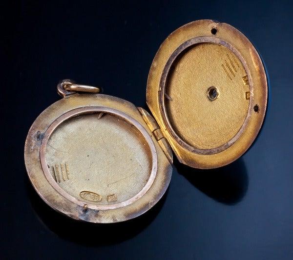 Antique Faberge Guilloche Enamel Locket Pendant 7