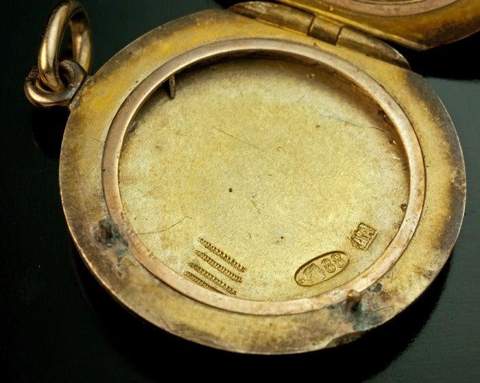 Antique Faberge Guilloche Enamel Locket Pendant 8