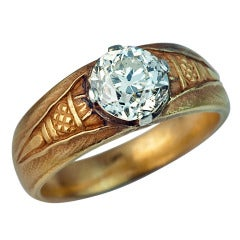 Antique Russian Solitaire Diamond Gold Men's Ring