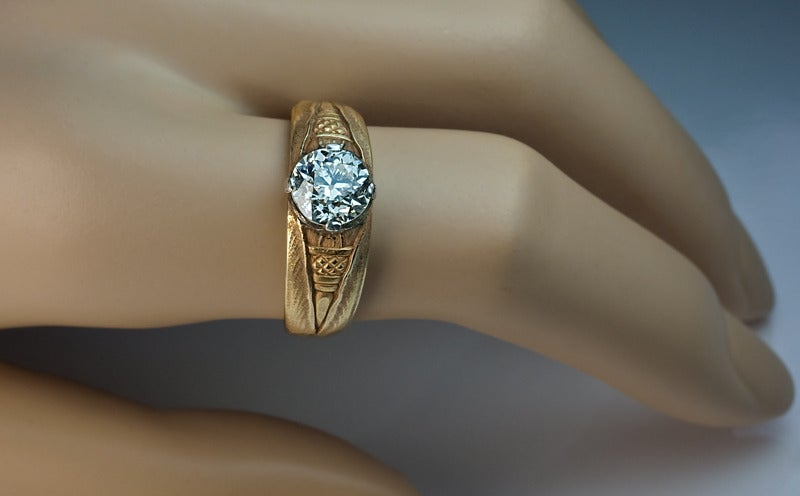 Antique Russian Solitaire Diamond Gold Men s Ring For Sale at 1stdibs