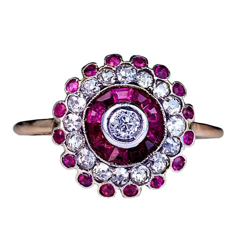 Antique Russian Ruby Diamond Cluster Ring 1
