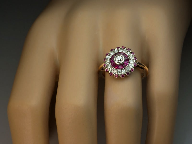 Antique Russian Ruby Diamond Cluster Ring 3