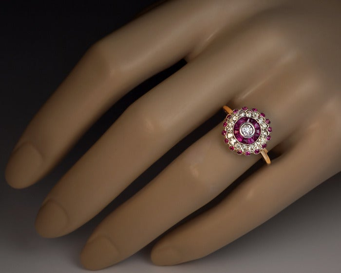 Antique Russian Ruby Diamond Cluster Ring 4