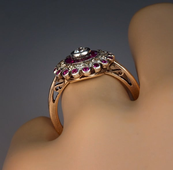 Antique Russian Ruby Diamond Cluster Ring 5
