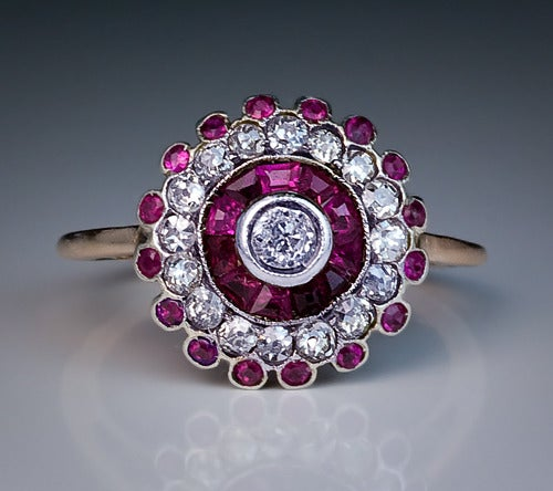 Antique Russian Ruby Diamond Cluster Ring 8