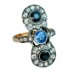 Antique Russian Sapphire Diamond Silver Gold Long Ring