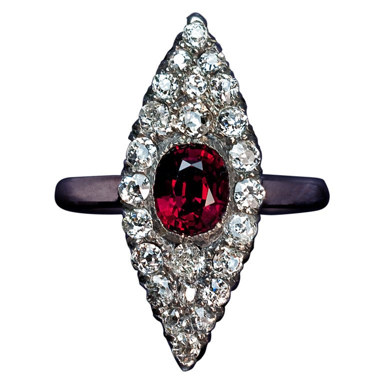 Antique Ruby Diamond Marquise Ring