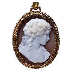 Antique Cameo Gold Locket Necklace