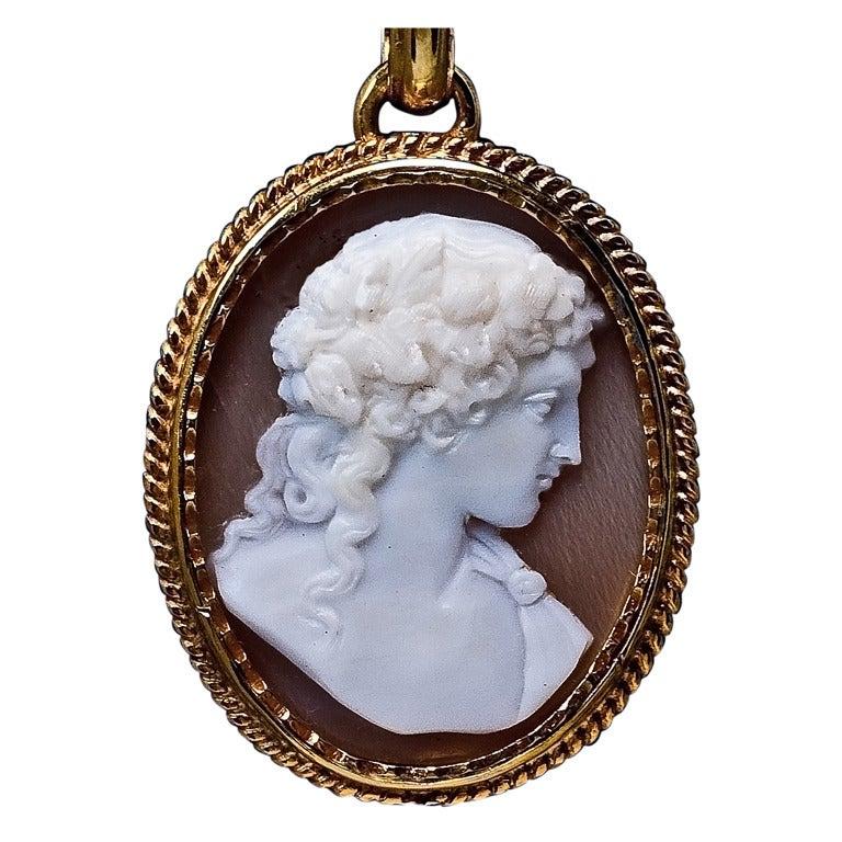 Antique Cameo Gold Locket Necklace
