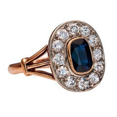 Antique Sapphire Diamond Gold Russian Engagement Ring