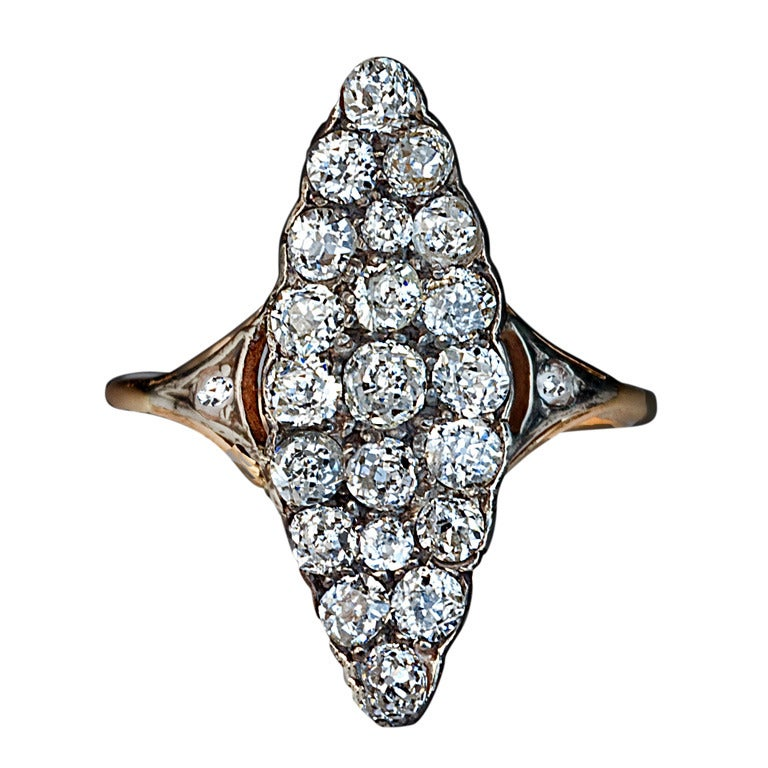 antique russian marquise shaped cluster ring at