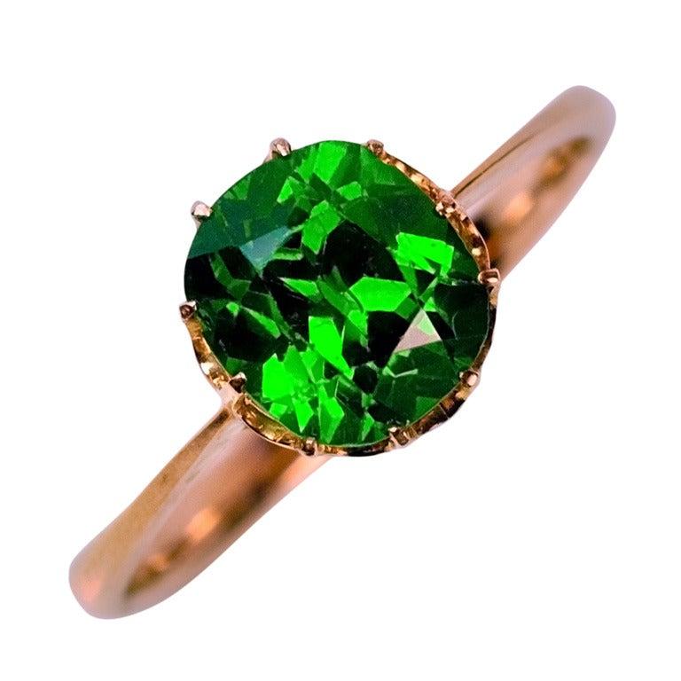 Demantoid Garnet Horsetail Ring