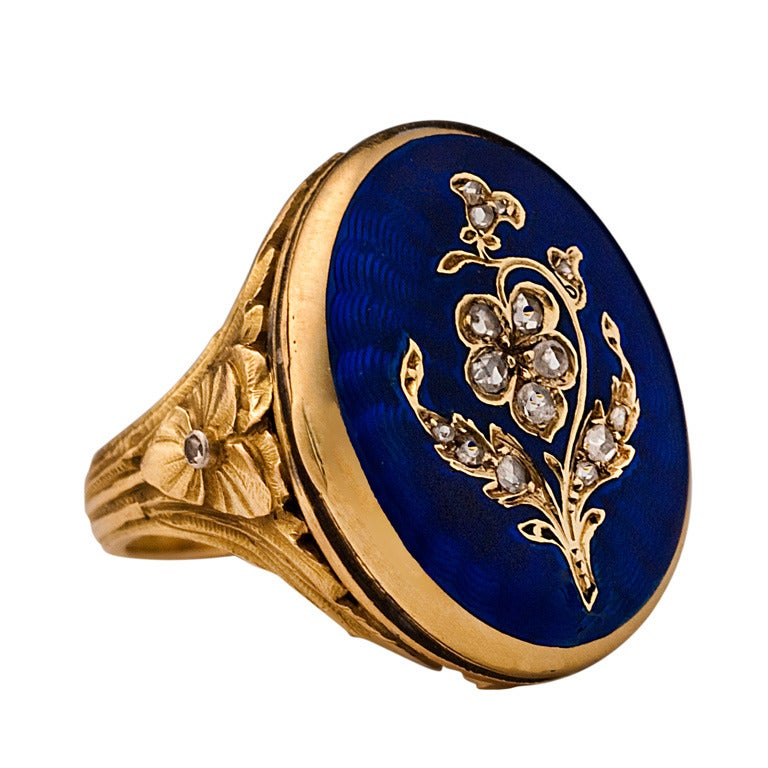 Antique French Guilloche Enamel Locket Ring 1