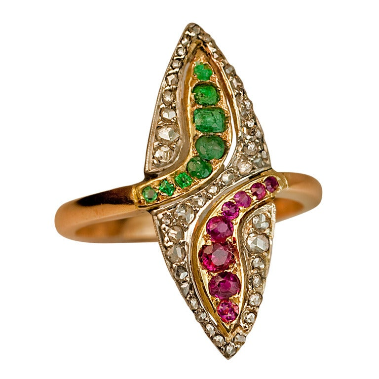 c. 1910 Navette Shaped Gemstone Ring
