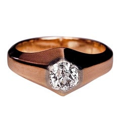 Antique Russian Diamond Solitaire Gold Mens Ring