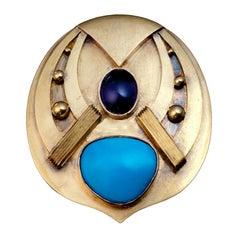 Arts & Crafts Russian Jeweled Gold Brooch
