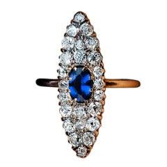 Antique Sapphire Diamond Navette Ring