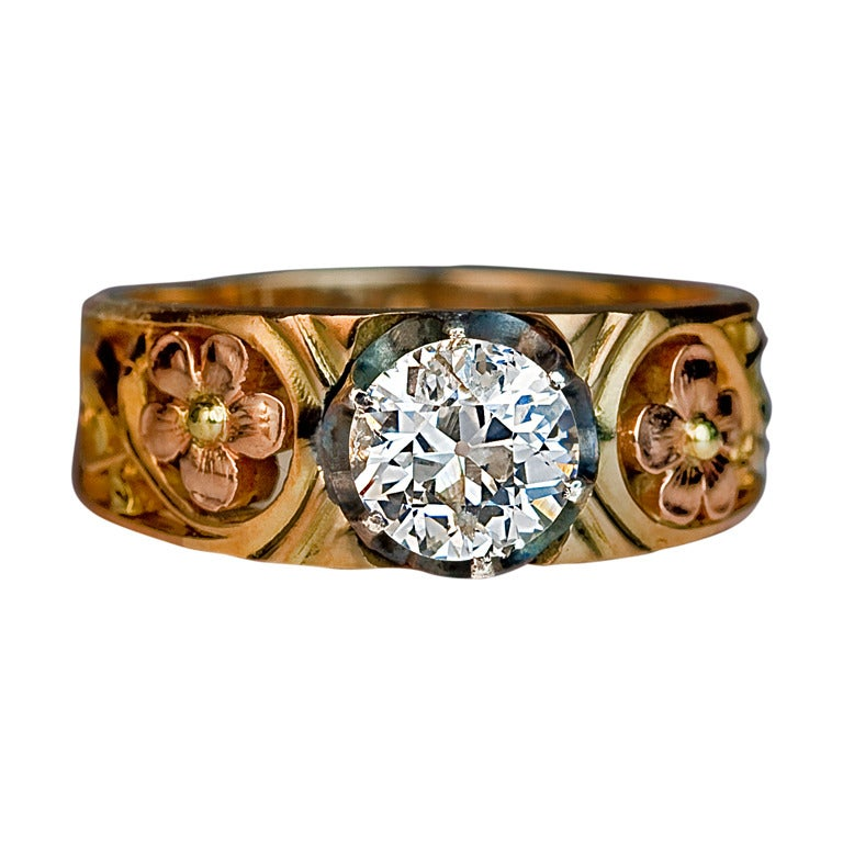 Art Nouveau Russian Diamond Solitaire Men's Ring