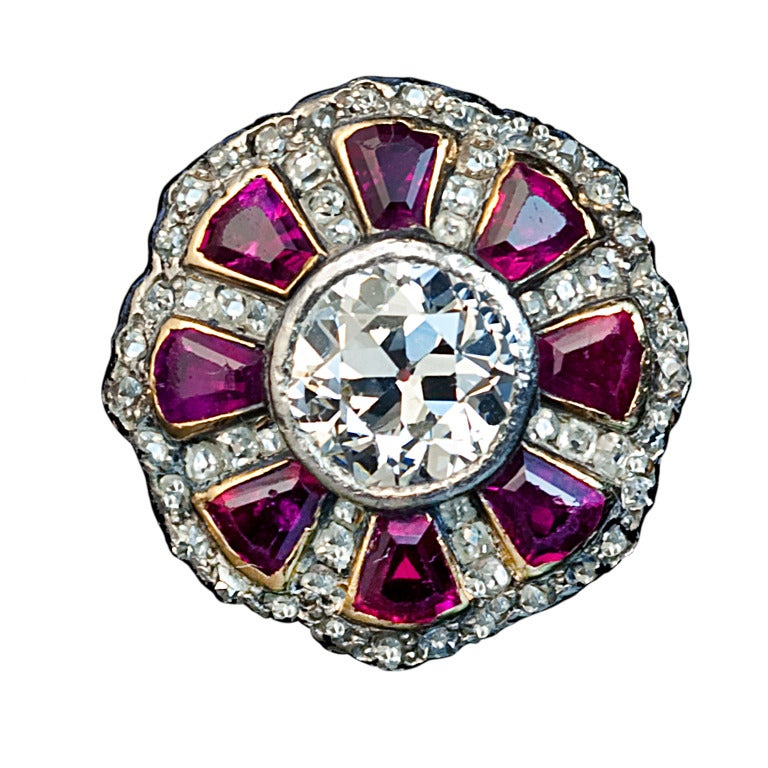 Antique Russian Ruby Diamond Ring For Sale