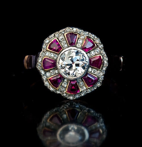 Edwardian Antique Russian Ruby Diamond Ring For Sale