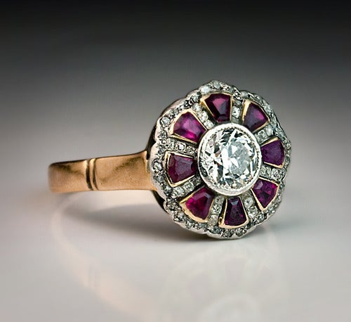Old European Cut Antique Russian Ruby Diamond Ring For Sale
