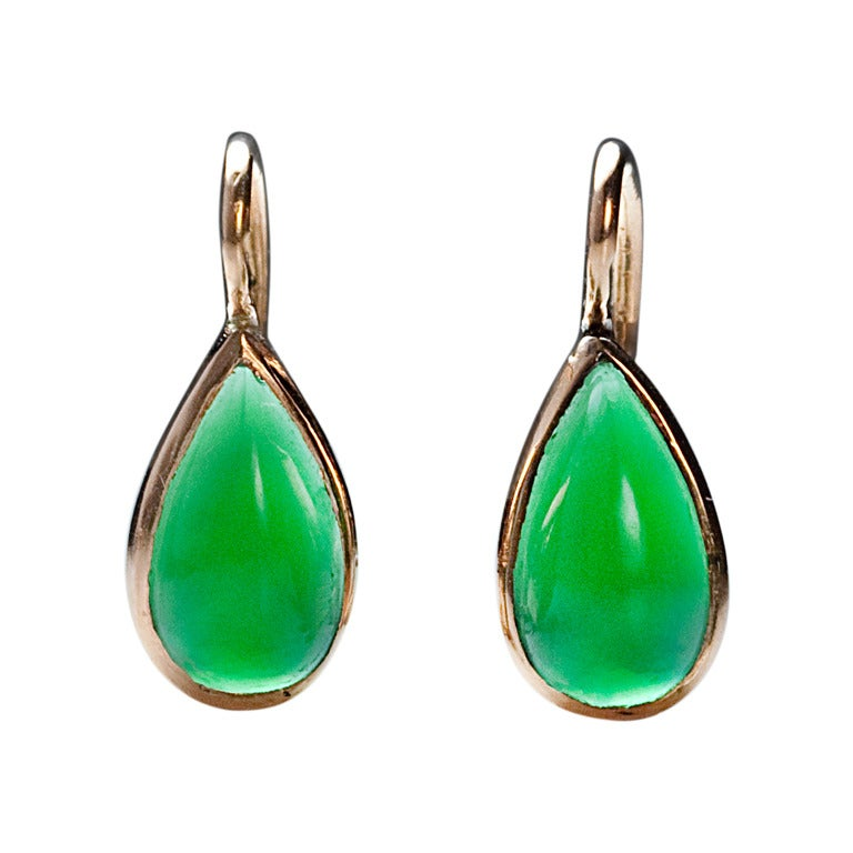 antique russian chrysoprase drop earrings at 1stdibs