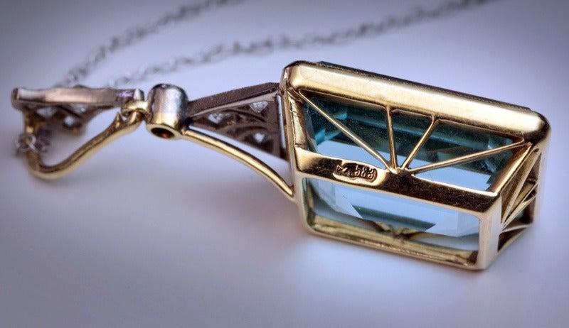 Art Deco Russian Aquamarine Pendant c1930 1