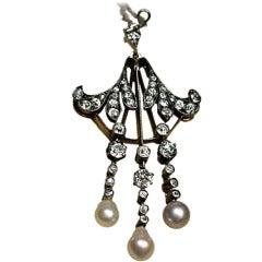Art Nouveau Antique Diamond Pearl Necklace