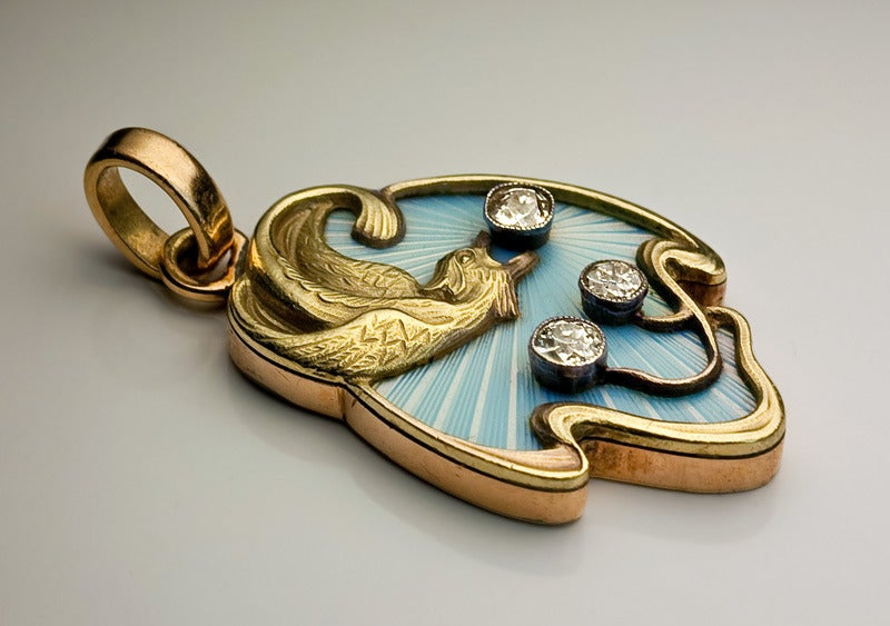 Art Nouveau Guilloche Enamel Gold Pendant In Excellent Condition For Sale In Chicago, IL