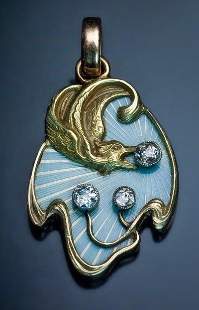 Women's Art Nouveau Guilloche Enamel Gold Pendant For Sale