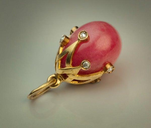 Women's Antique Russian Miniature Egg Pendant For Sale