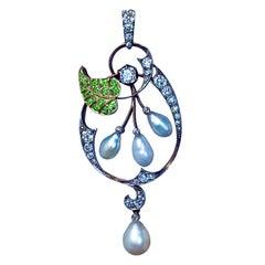 Art Nouveau Antique Demantoid Pearl Diamond Gold Pendant