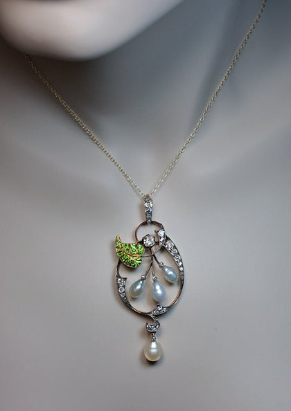 Art Nouveau Demantoid Pearl Diamond Gold Pendant 2