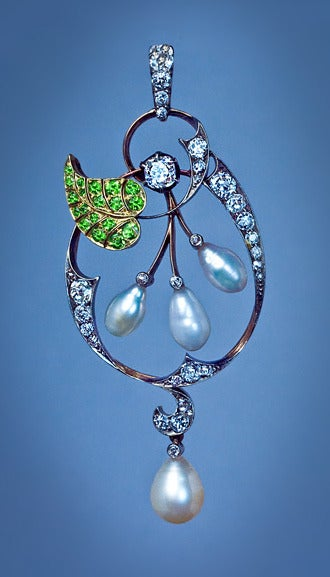 Art Nouveau Demantoid Pearl Diamond Gold Pendant 3