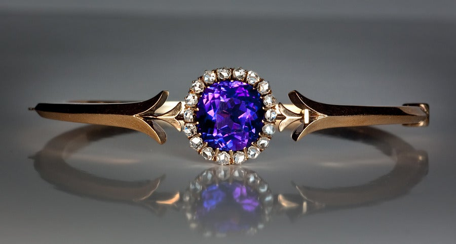 Antique Russian Siberian Amethyst Gold Bangle Bracelet at 1stdibs
