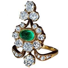 Antique Russian Emerald Diamond Gold Ring