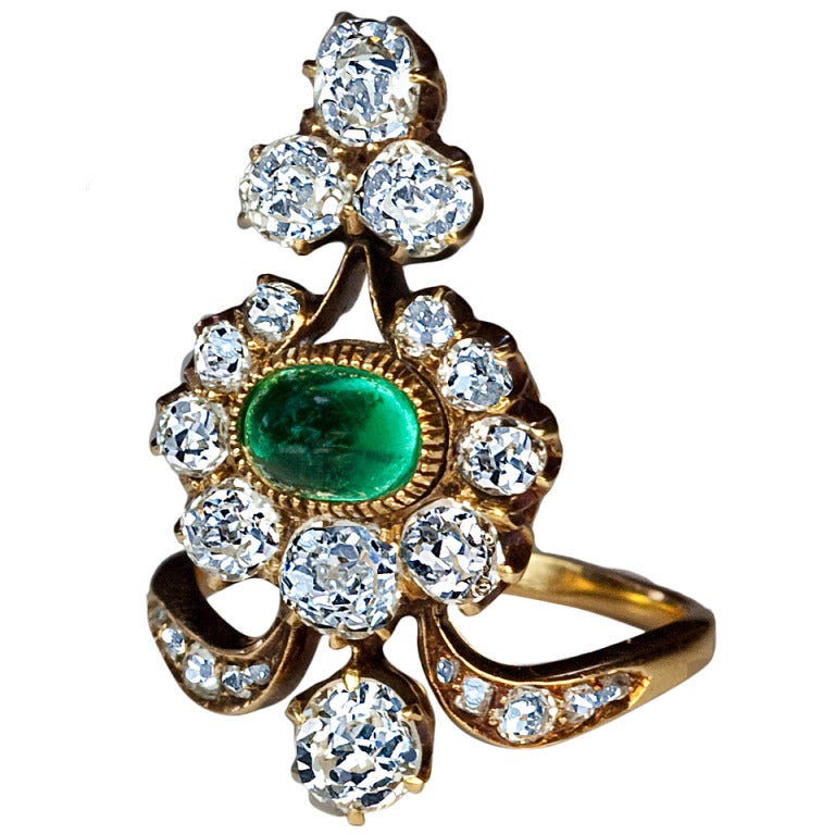 Antique Russian Emerald Diamond Gold Ring For Sale