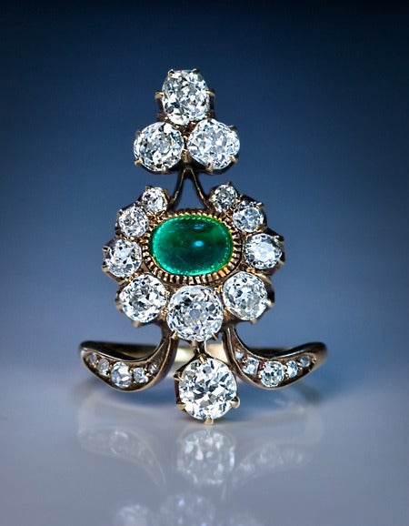A Belle Epoque Antique Russian Diamond and Emerald Ring